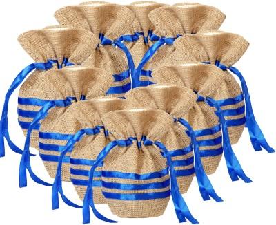 Kohl Set of 10 Potli Bags Small Blue Wristlet