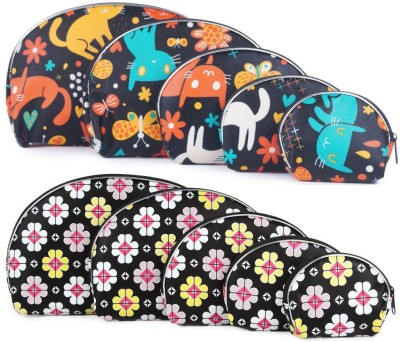 Uberlyfe Black Kitten Motif and Black Floral Print Multipurpose Pouch or Purse - Combo of 10