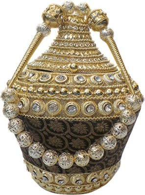 Bhamini Bhamini Conical Metal Batwa with Brocade Base  Potli