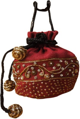 Spice Art Red Jute Embroidered Evening Potli Pouch
