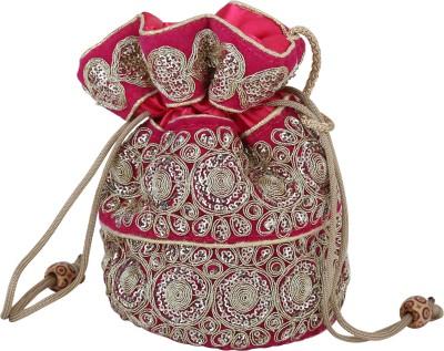 Sanjog Ethnic Lady Love Pink Silky Clutches For Women/Girls Potli