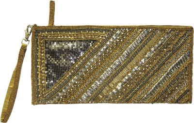 Kawaii Gold Beaded Zipper Pouch