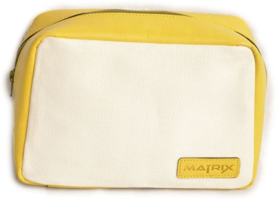 Matrix Leather-Canvas Pouch(White & Yellow)