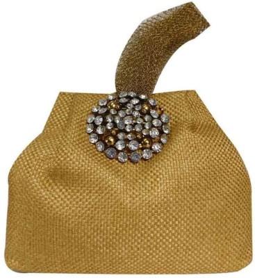 Laviva Gold Colored Jute Potli Bag by Laviva Potli