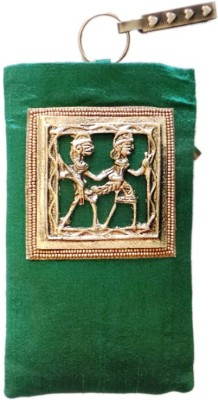 Bhamini Silk with Tribal Brooch Mobile Pouch