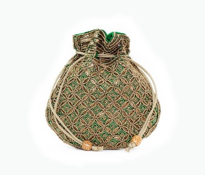 VERMELLO Green Designer Potli Pouch
