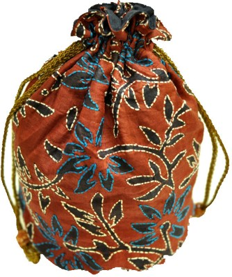 The India Craft House Kutch Emboidered Potli(Brown)