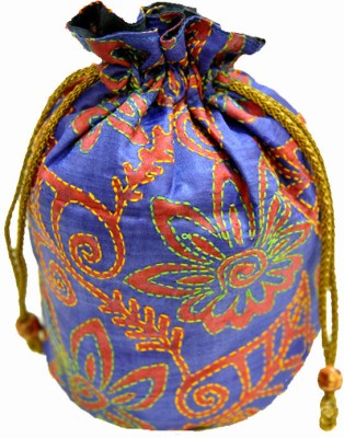 The India Craft House Kutch Emboidered Potli(Blue)