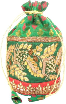 GiftPiper Brocade & Embroidered Lace Potli-Green & Red Potli