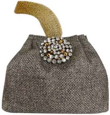 Laviva Ethnic Grey Colored Jute Potli Bag by Laviva Potli