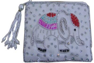 Himalaya Handicraft Handmade Embroidered Designer White Elephant Coin Purse