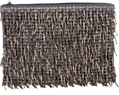 Diwaah Diwaah!!Embellished Silver fringess pouch Pouch