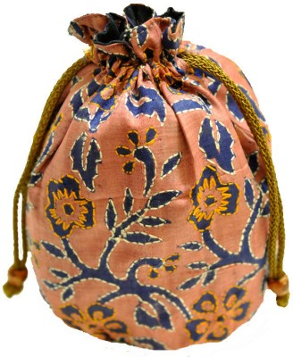 The India Craft House Kutch Emboidered Potli(Blue, Pink)