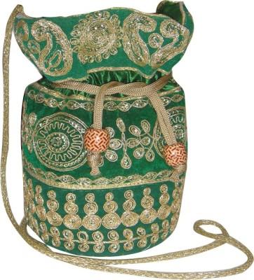 AADOO Handmade Designer Green Bags Potli