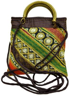 The India Craft House Ahir Embroidery Potli(Emerald Maroon)