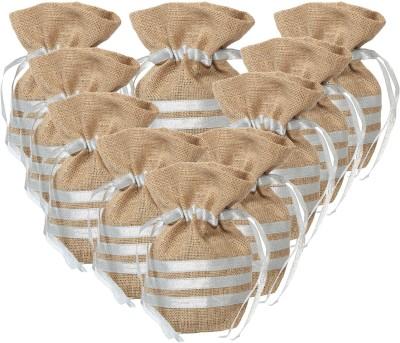 Kohl Set of 10 Potli Bags Large Silver Wristlet