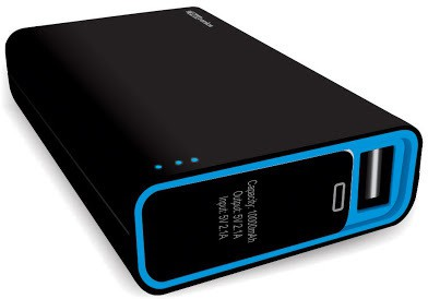 Portronics POR-580 Charge M plus 10000 mAh Power Bank(Black, Blue, Lithium-ion)