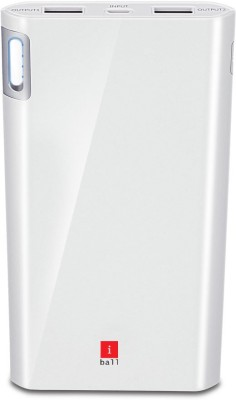 iBall PLM-10003 Li-Polymer 2 Port USB-Higher Safety Light Weight-White 10000 mAh Power Bank(White, Lithium Polymer)