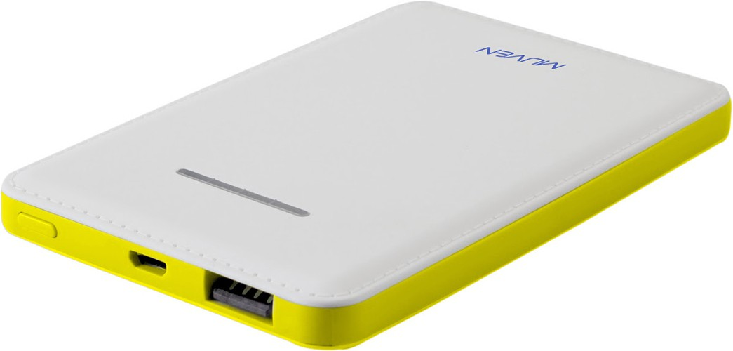 Muven X-8_Yellow Ultra Slim Portable Charger 4000 mAh Power Bank(White, Lithium Polymer)