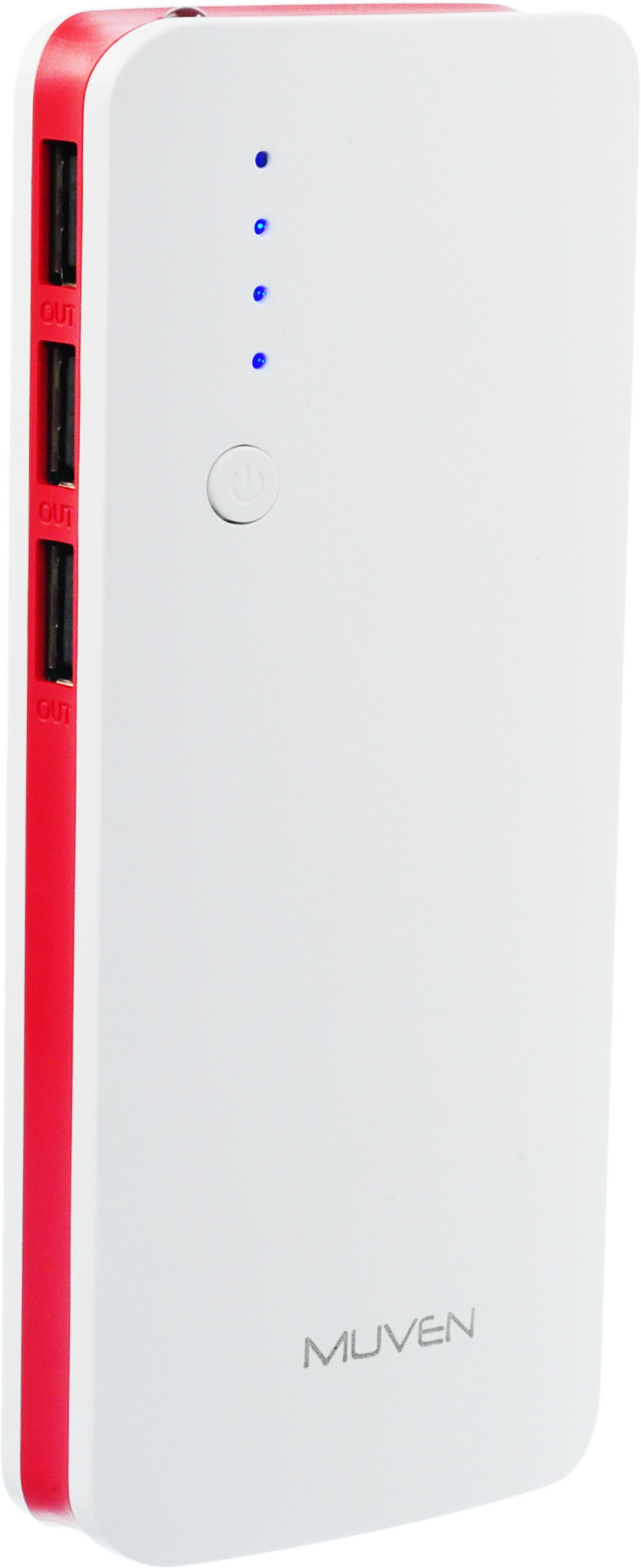 Muven C500 Portable Charger 10000 mAh Power Bank(Red, Lithium-ion)