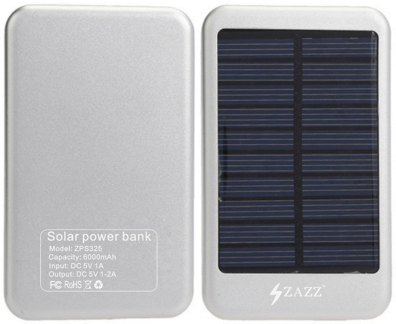 Zazz ZPS325 Solar  6000 mAh Power Bank(Silver, Lithium-ion)