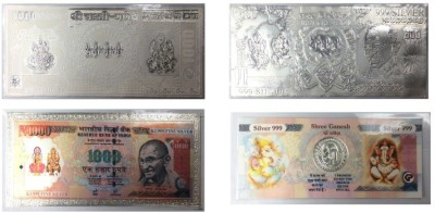 Kataria Jewellers Lakshmi Ganesha 999 Purity Silver Silver Currecncy