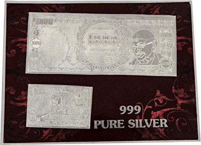 Siri Creations Indian Currancy Note(999 Pure 1000rp & 1 rp ) Silver Jewellery