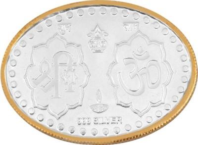 Jewel99 Pure Silver Laxmi Ganesha Studded 10 Gram Silver Coin