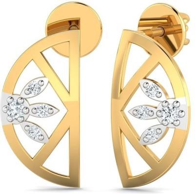 P.N.Gadgil Jewellers Floral Yellow Gold 18kt Diamond Stud Earring(Yellow Gold Plated) at flipkart