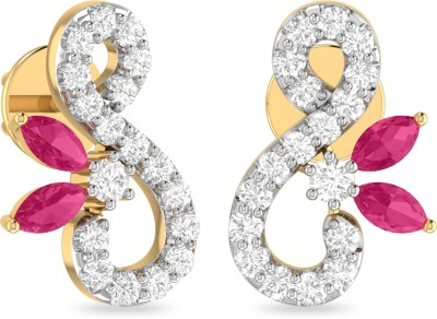 WearYourShine by PC Jewellers PC Jeweller The Avivi Yellow Gold 18kt Diamond, Ruby Stud Earring at flipkart