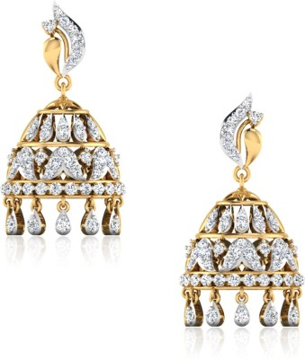 IskiUski Achla Yellow Gold 14kt Swarovski Crystal Jhumki Earring(Yellow Gold Plated) at flipkart