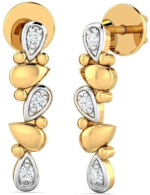 P.N.Gadgil Jewellers Abstract Yellow Gold 18kt Diamond Stud Earring(Yellow Gold Plated) at flipkart