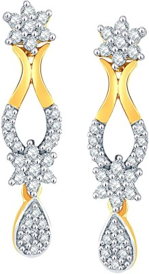 Nakshatra Designer Yellow Gold 18kt Diamond Dangle Earring(Yellow Gold Plated) at flipkart