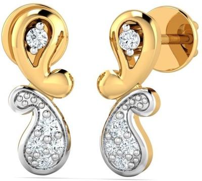 P.N.Gadgil Jewellers Twin Motif Yellow Gold 18kt Diamond Stud Earring(Yellow Gold Plated) at flipkart