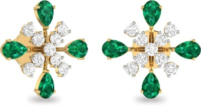 WearYourShine by PC Jewellers PC Jeweller The Davida Yellow Gold 18kt Diamond, Emerald Stud Earring at flipkart