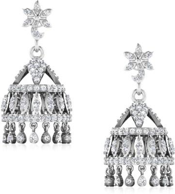 IskiUski Simriti White Gold 14kt Swarovski Crystal Jhumki Earring(Platinum Plated) at flipkart