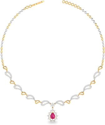 WearYourShine by PC Jewellers ONKPC0018RDG-FX Princess Yellow Gold Precious Necklace(18kt Not Plated Plated) at flipkart