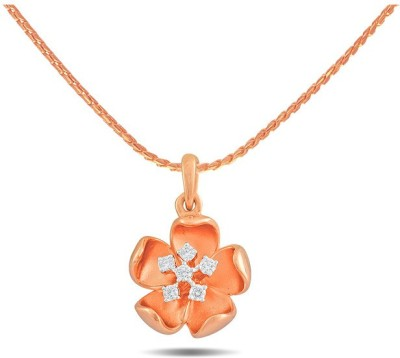 P.N.Gadgil Jewellers Pink Floral 18kt Diamond Rose Gold Pendant(Rose Gold Plated) at flipkart