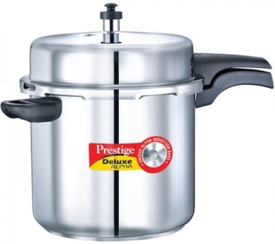 Prestige 20608 Deluxe Alpha Stainless Steel 10 L Pressure Cooker (Induction Bottom,Outer Lid)