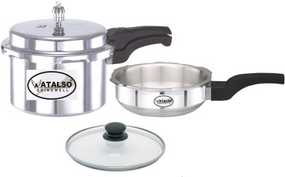 Atalso 5.1 ltr and 3.1 ltr combo pack 5.02 L, 3.02 L Pressure Cooker & Pressure Pan(Induction Bottom, Aluminium)