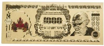Varanasi Enterprises 1000 Rupees Gold-plated Printed Currency