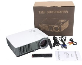 IBS 2200 Lumens Mini LED RD-801 Smart Lcd Video Home Theater 1080P Movie USB*2 HDMI*2 Player 50000/60000 Hours Life 5 Inch Displays Screen Black Portable Projector