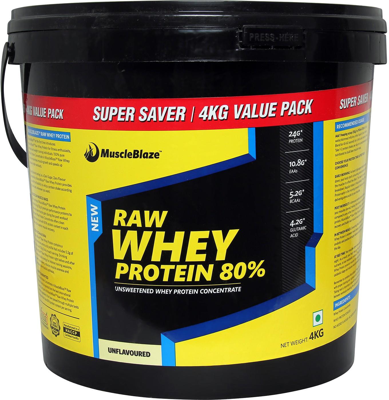 MuscleBlaze Raw Whey Protein4 kg Unflavoured