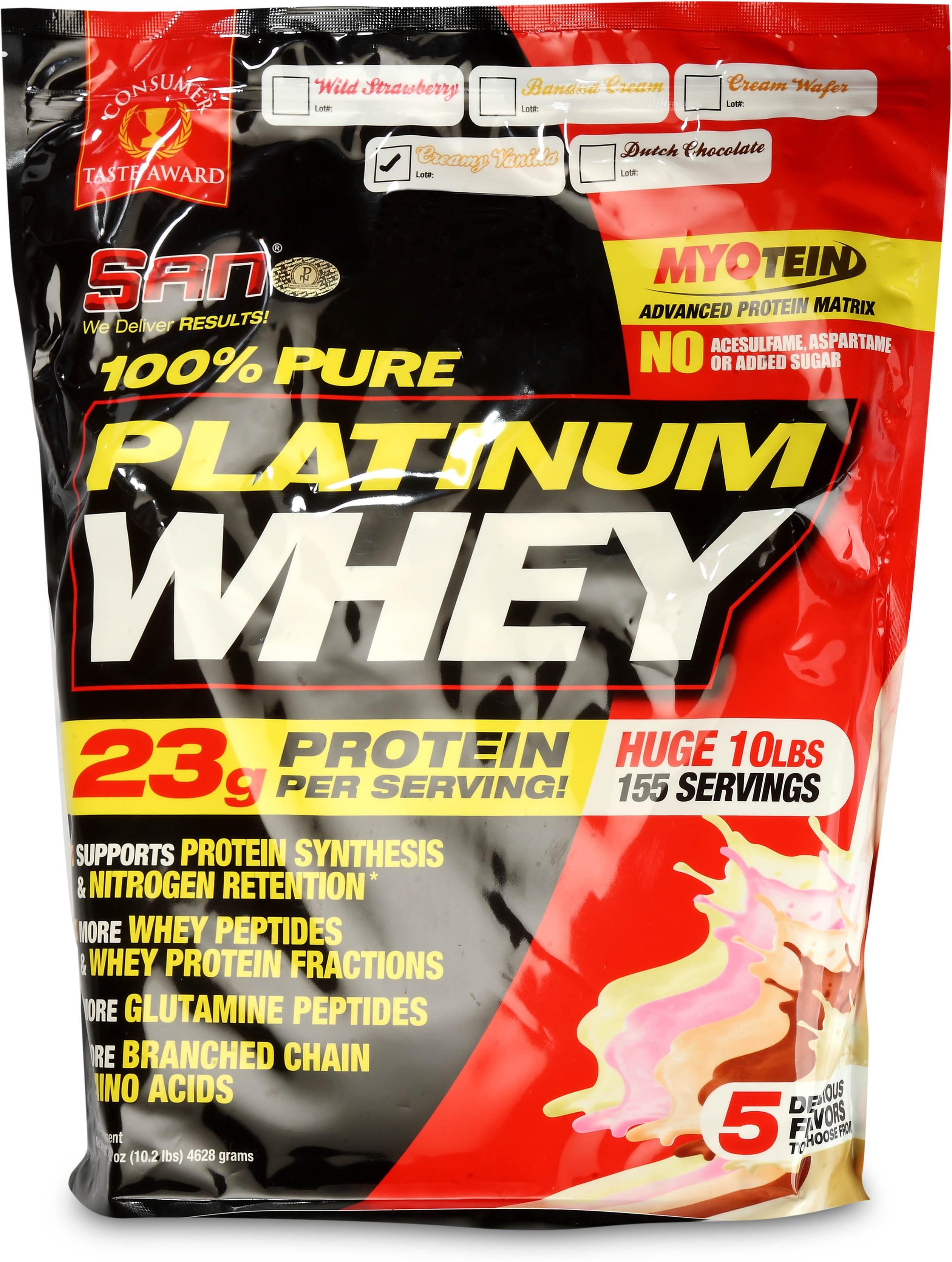 SAN 100 Pure Platinum Whey 10lbs Whey Protein4628 g Creamy Vanilla