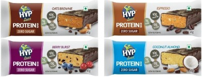 HYP Sugarfree Variety Pack Protein Bars(8 No, Oats Brownie, Espresso, Berry Burst, Coconut Almond)