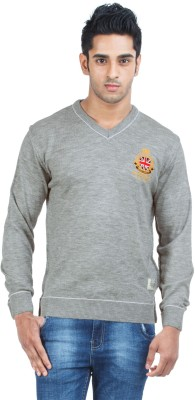 Zovi Solid Round Neck Casual Men's Grey Sweater