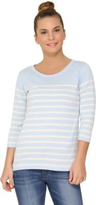 Amari West By INMARK Round Neck Striped Women's Pullover