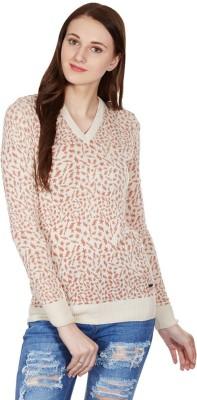 American Swan V-neck Self Design Women's Pullover