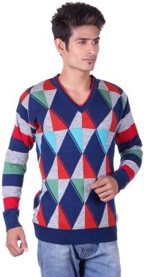 Black Velly V-neck Woven Men's Pullover