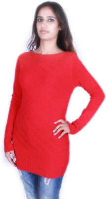 GnC Self Design Round Neck Casual Women's Red Sweater